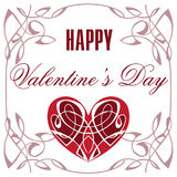 Decoratief Hart Een Uitstekende Dag van Valentine ` s van de Groetkaart Gelukkige Stock Afbeelding