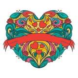 Decoratief hart met bloemenpatroon stock illustratie