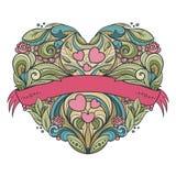 Decoratief hart met bloemenpatroon vector illustratie