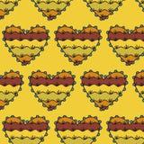 Decoratief hart naadloos patroon op een lichtoranje achtergrond Royalty-vrije Stock Foto's