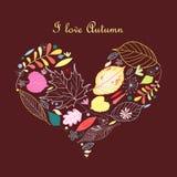 Decoratief hart van de herfstbladeren Stock Afbeeldingen