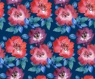 Decoratief helder rood bloemen naadloos patroon Royalty-vrije Stock Afbeelding