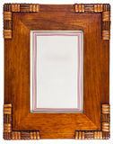 Decoratief houten fotoframe dat op wit wordt geïsoleerd Royalty-vrije Stock Foto