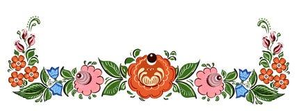 Decoratief kader met bloemen en in Russische in traditionele stijl Stock Foto's