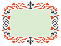 Decoratief kader met kaartkostuums Stock Fotografie