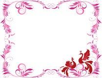 Decoratief kader met twee vogels Royalty-vrije Stock Foto's