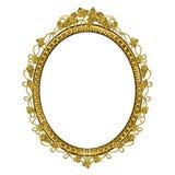 Decoratief kader van gouden kleur van een ovale vorm Stock Afbeeldingen