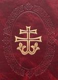 Decoratief kruis op leer Royalty-vrije Stock Foto's
