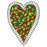 Decoratief lapwerkhart met een helder kleurrijk patroon op een witte achtergrond stock illustratie