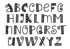 Decoratief Latijns alfabet met wervelingen en ornament in zwarte die op witte achtergrond wordt geïsoleerd royalty-vrije illustratie