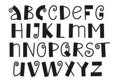 Decoratief Latijns die alfabet met wervelingen in zwarte op witte achtergrond wordt geïsoleerd stock illustratie