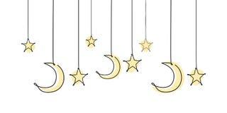Decoratief malplaatjeontwerp voor ramadan met sterren, maan, en lantaarn royalty-vrije illustratie