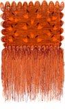 Decoratief modern grunge gestreept en golvend tapijtwerk met bloemenpatroon met abstracte klokken en lange rand in oranje, bruine royalty-vrije illustratie