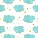 Decoratief mooi wolkenpatroon met gouden textuur Vector illustratie vector illustratie