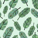 Decoratief naadloos patroon met de hand getrokken abstracte illustraties van de krabbelveer Stock Foto