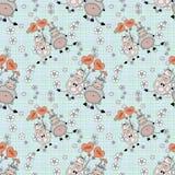 Decoratief naadloos patroon met grappige dieren, voor kinderen Royalty-vrije Stock Afbeeldingen