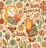 Decoratief naadloos patroon met jonge meisjes, kat, vogel, bloemen Stock Afbeeldingen