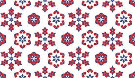 Decoratief naadloos patroon van rode en blauwe geometrische elementen op witte achtergrond Stock Fotografie