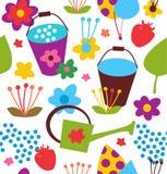Decoratief naadloos tuinpatroon. De zomer kleurrijke achtergrond Stock Afbeelding