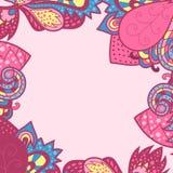 Decoratief origineel kader, uitstekend kadermalplaatje die, achtergrondontwerp, met handenkader trekken met het kleurrijke doodli Royalty-vrije Stock Foto's