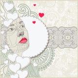 Decoratief patroon met de samenstelling van het vrouwengezicht Stock Foto's