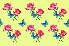 Decoratief patroon van heldere roze rozen en blauwe vlindermorpho stock illustratie