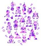 Decoratief patroon van robots voor jonge geitjes Royalty-vrije Stock Afbeelding