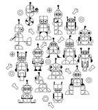 Decoratief patroon van robots voor jonge geitjes Stock Afbeeldingen
