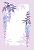 Decoratief rechthoekig kader met bloemenwaterverfelementen, wisteria in het bloeien Royalty-vrije Stock Foto's