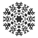 Decoratief rond ornament kant Silhouet van sneeuwvlok op achtergrond wordt geïsoleerd die Royalty-vrije Stock Foto's