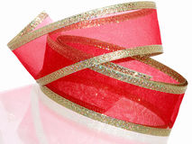 Decoratief Rood en Gouden Lint stock foto