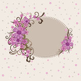 Decoratief roze bloemenframe Stock Fotografie