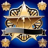 Decoratief ster vastgesteld zuiver goud Stock Afbeelding