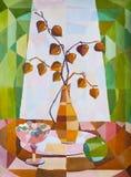 Decoratief stilleven met physalis, druiven en appel Stock Foto