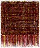 Decoratief tapijtwerk met grunge gestreept golvend patroon en lange pluizige rand in bruine, gele, oranje kleuren royalty-vrije illustratie
