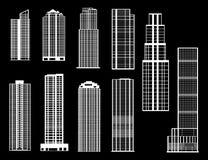 Decoratief van gebouwen in de stad stock illustratie