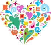 Decoratief vectorhart voor de dag van Valentijnskaarten Royalty-vrije Stock Foto