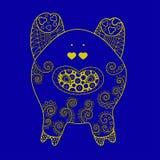 Decoratief vectorontwerpvarken Symbool van het nieuwe jaar 2019 royalty-vrije stock foto's