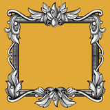 Decoratief victorian, uitstekend barok kunst gegraveerd vectorkader stock illustratie