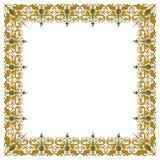 Decoratief vierkant ornament met traditionele middeleeuwse elementen op geïsoleerd wit Royalty-vrije Stock Fotografie