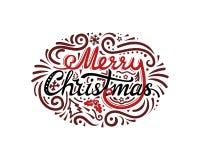 Decoratief Vrolijk Kerstmis kalligrafisch etiket met sparren, sneeuwvlokken, hulsttak, bessen, ornamenten, punten Vector royalty-vrije illustratie