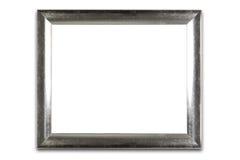 Decoratief zilveren die kader op wit wordt geïsoleerd Stock Foto's