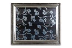 Decoratief zilveren die kader op wit wordt geïsoleerd Grijs ornamentenalpatroon backgound Royalty-vrije Stock Fotografie