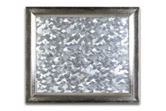Decoratief zilveren die kader op wit wordt geïsoleerd Zilveren patroon insid Stock Foto's