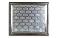 Decoratief zilveren die kader op wit wordt geïsoleerd Zilveren patroon insid Stock Afbeelding