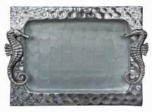 Decoratief zilveren dienblad met zeepaardje Stock Foto
