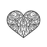 Decoratief zwart-wit abstract hart Stock Foto