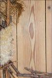 Decoratiesamenstelling op houten achtergrond raad gevoerd gemaakt o Royalty-vrije Stock Foto