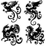 Decoratieve abstracte draken Stock Illustratie