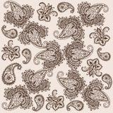 Decoratieve achtergrond Hand-Drawn Krabbel van Henna Mehndi Abstract Mandala Flowers en van Paisley Royalty-vrije Stock Fotografie